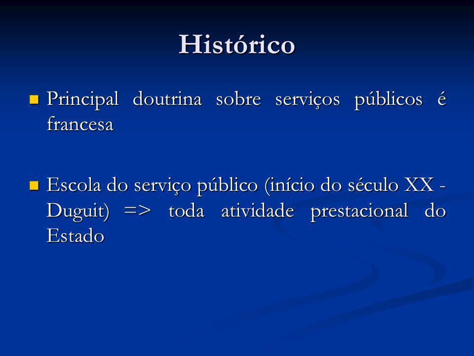 Histórico Principal doutrina sobre serviços públicos é francesa