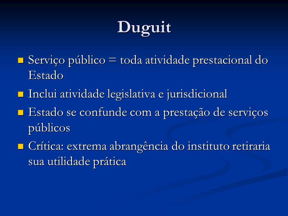 Duguit Serviço público = toda atividade prestacional do Estado