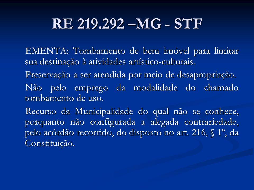 RE 219.292 –MG - STF EMENTA: Tombamento de bem imóvel para limitar sua destinação à atividades artístico-culturais.