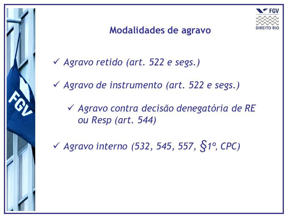 Modalidades de agravo Agravo retido (art. 522 e segs.) Agravo de instrumento (art. 522 e segs.)