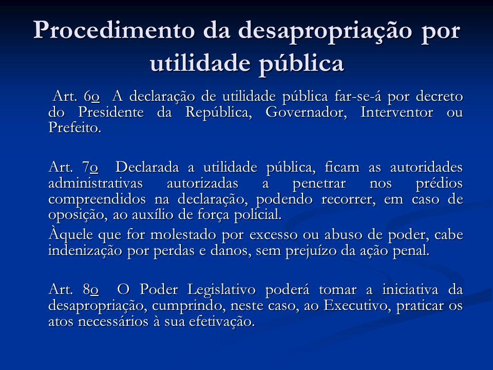 Procedimento da desapropriação por utilidade pública