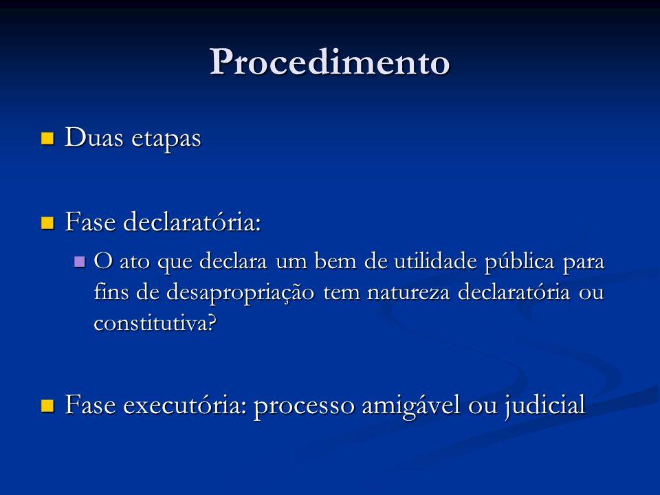Procedimento Duas etapas Fase declaratória: