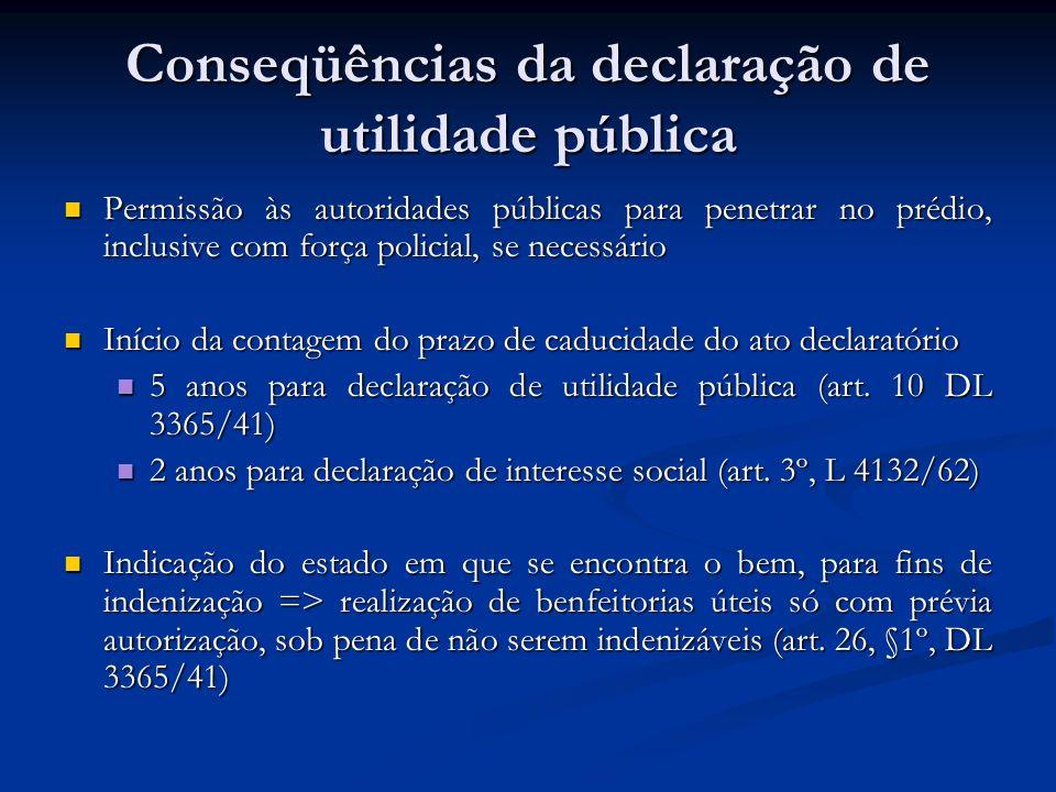 Conseqüências da declaração de utilidade pública