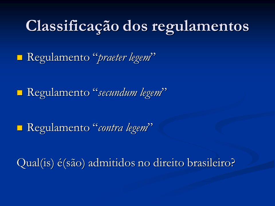 Classificação dos regulamentos