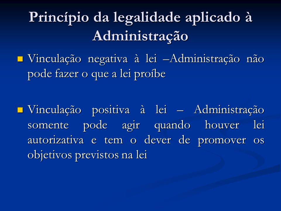 Princípio da legalidade aplicado à Administração