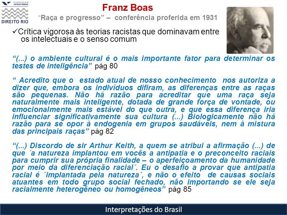 Franz Boas Crítica vigorosa às teorias racistas que dominavam entre