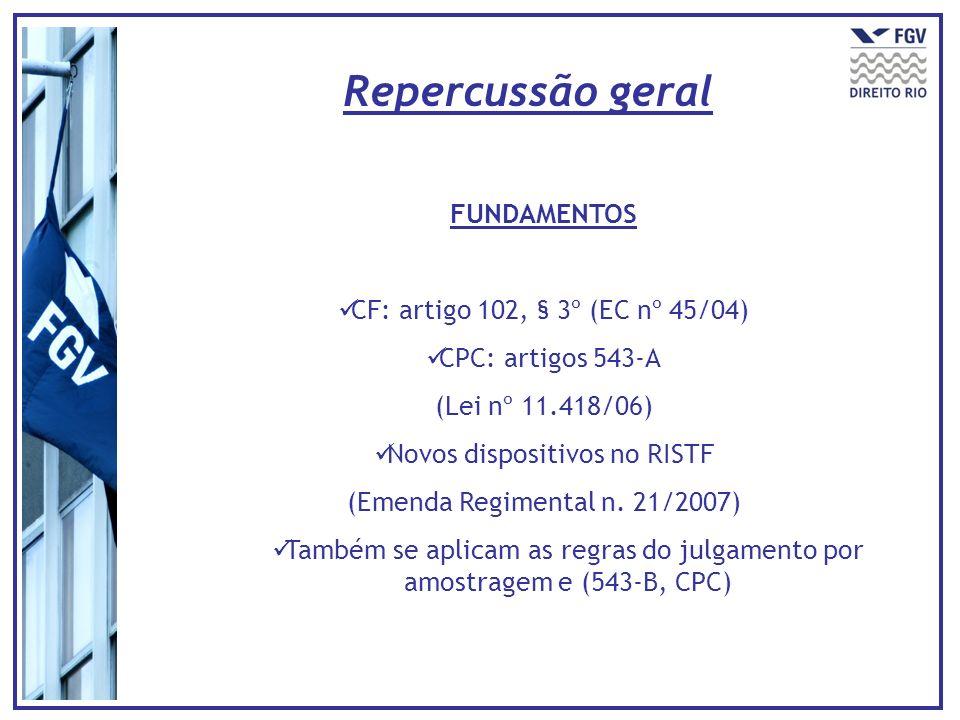 Repercussão geral FUNDAMENTOS CF: artigo 102, § 3º (EC nº 45/04)