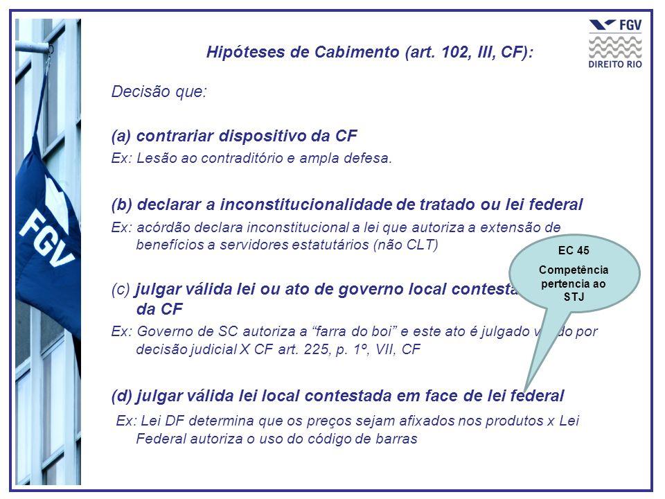 Hipóteses de Cabimento (art. 102, III, CF):