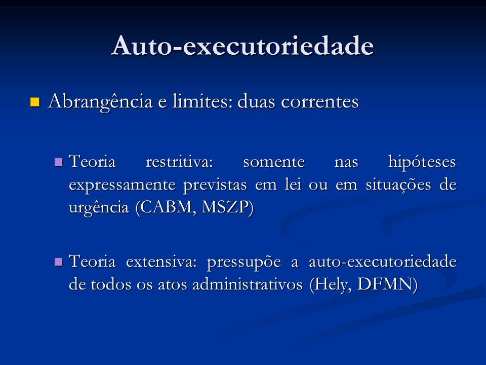 Auto-executoriedade Abrangência e limites: duas correntes