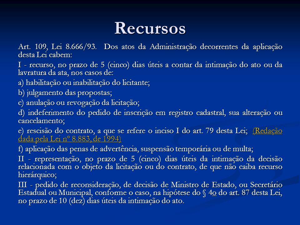 Recursos Art. 109, Lei 8.666/93. Dos atos da Administração decorrentes da aplicação desta Lei cabem: