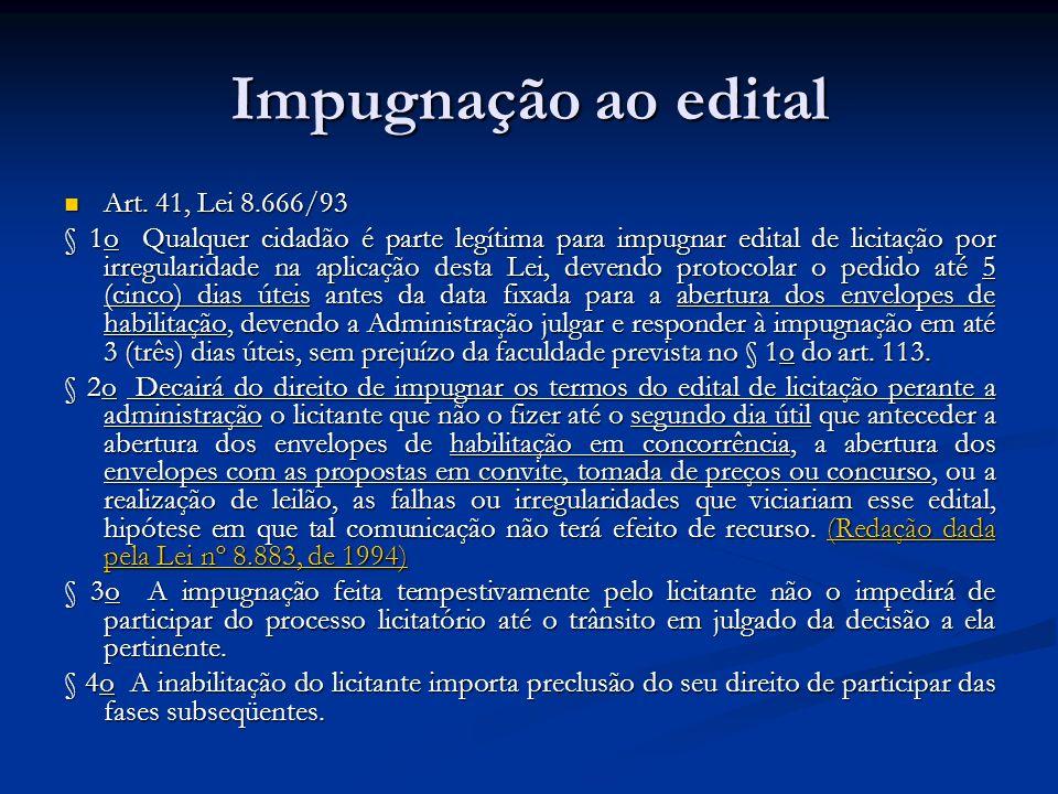 Impugnação ao edital Art. 41, Lei 8.666/93