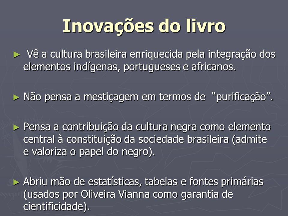 Inovações do livroVê a cultura brasileira enriquecida pela integração dos elementos indígenas, portugueses e africanos.