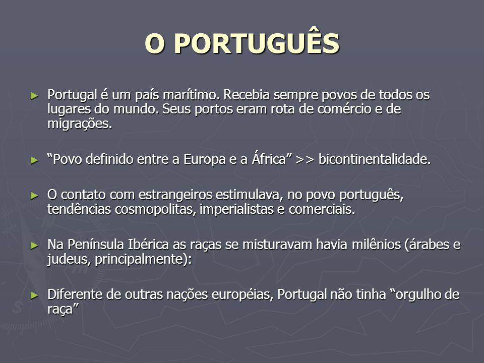 O PORTUGUÊS Portugal é um país marítimo. Recebia sempre povos de todos os lugares do mundo. Seus portos eram rota de comércio e de migrações.