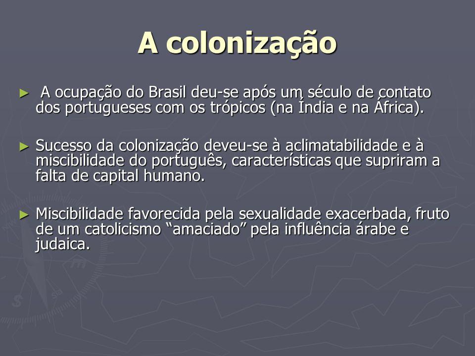 A colonização A ocupação do Brasil deu-se após um século de contato dos portugueses com os trópicos (na Índia e na África).