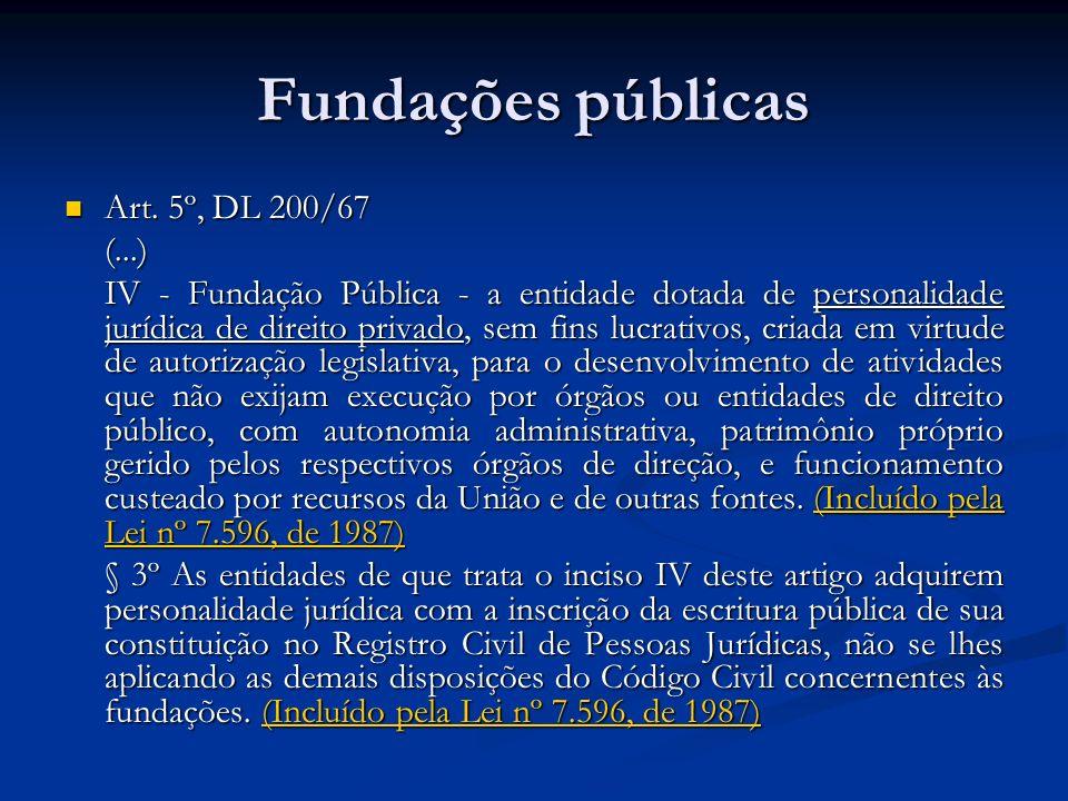 Fundações públicas Art. 5º, DL 200/67 (...)