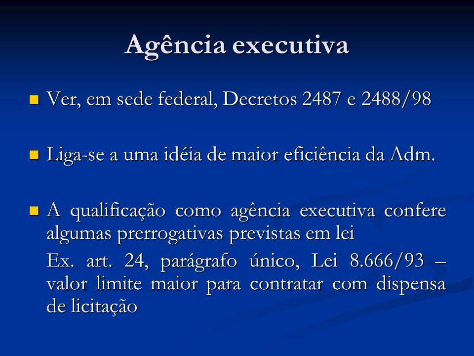 Agência executiva Ver, em sede federal, Decretos 2487 e 2488/98