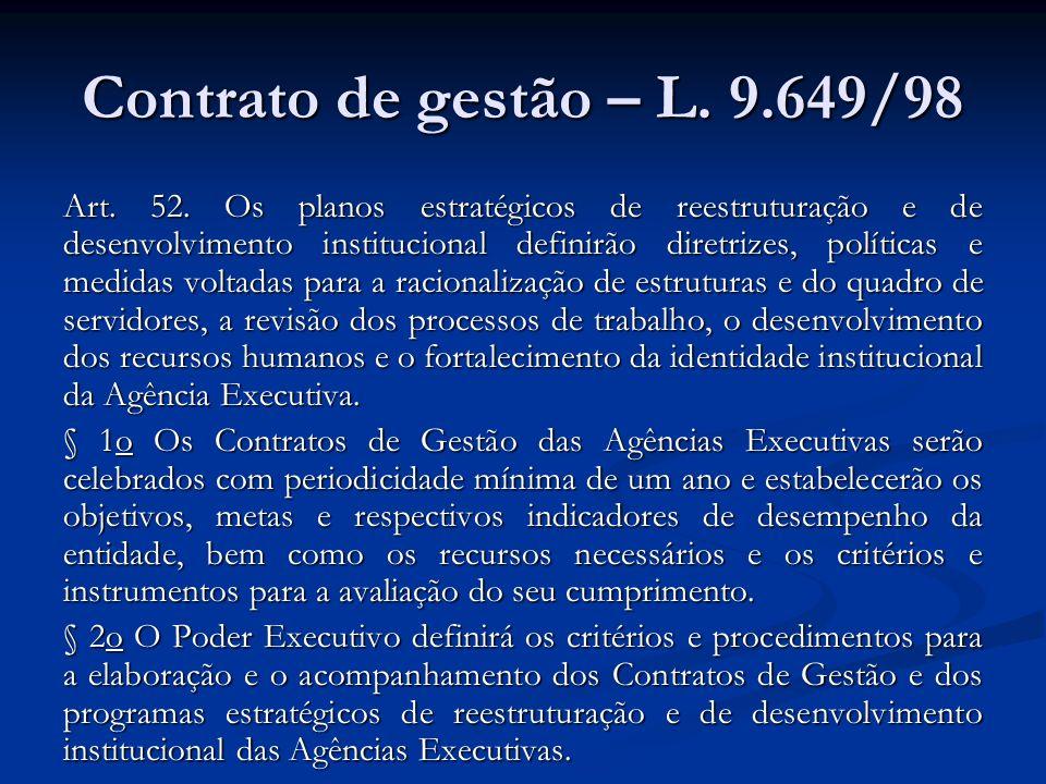 Contrato de gestão – L. 9.649/98