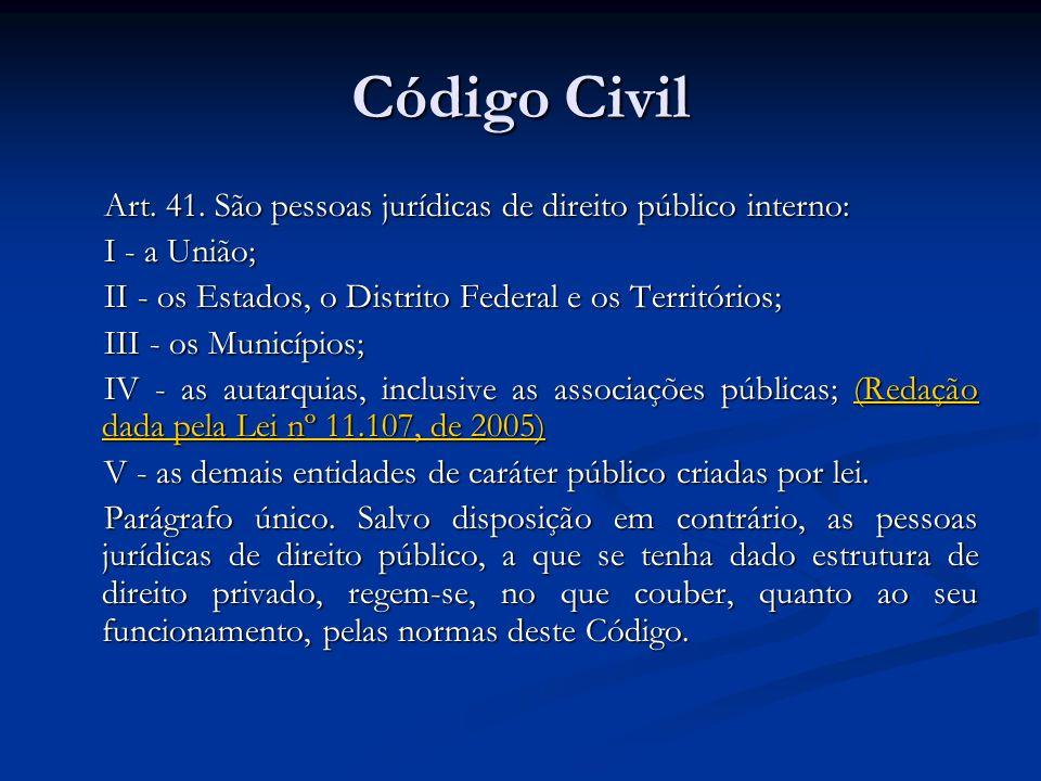 Código CivilArt. 41. São pessoas jurídicas de direito público interno: I - a União; II - os Estados, o Distrito Federal e os Territórios;