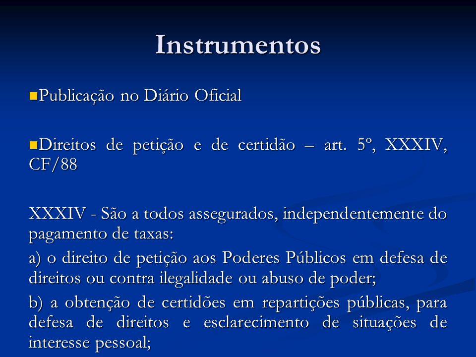 Instrumentos Publicação no Diário Oficial