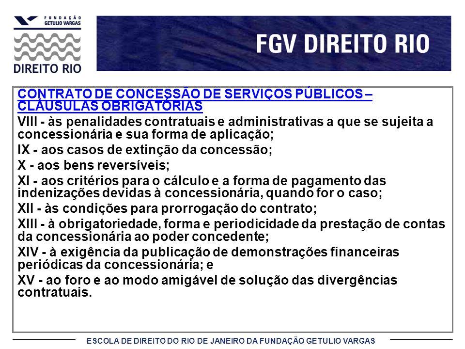 CONTRATO DE CONCESSÃO DE SERVIÇOS PÚBLICOS – CLÁUSULAS OBRIGATÓRIAS
