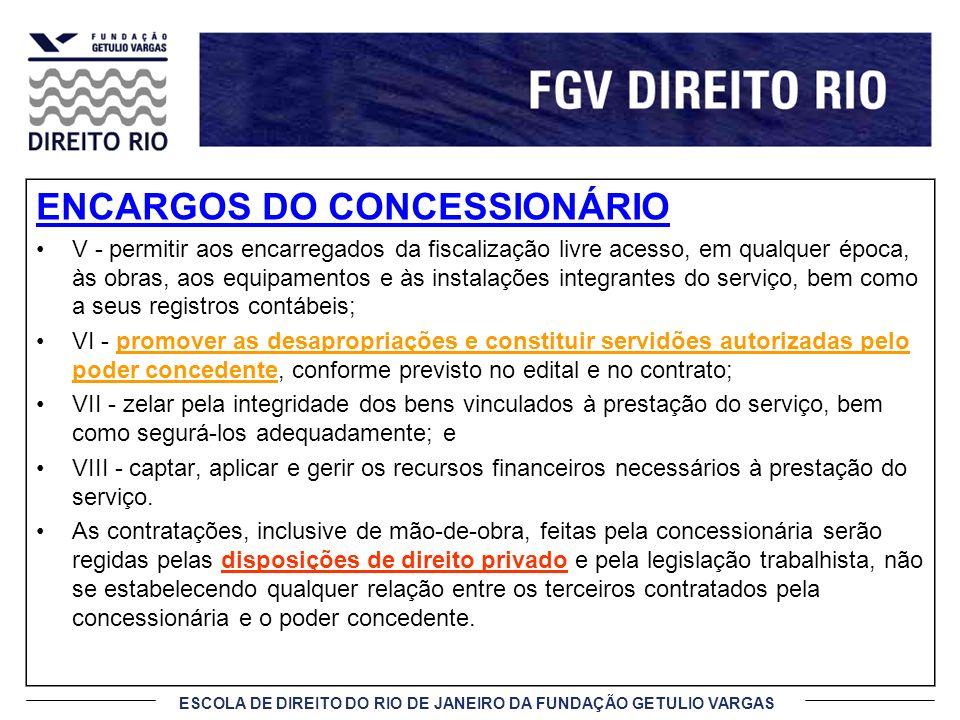 ENCARGOS DO CONCESSIONÁRIO