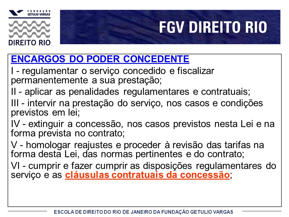 ENCARGOS DO PODER CONCEDENTE
