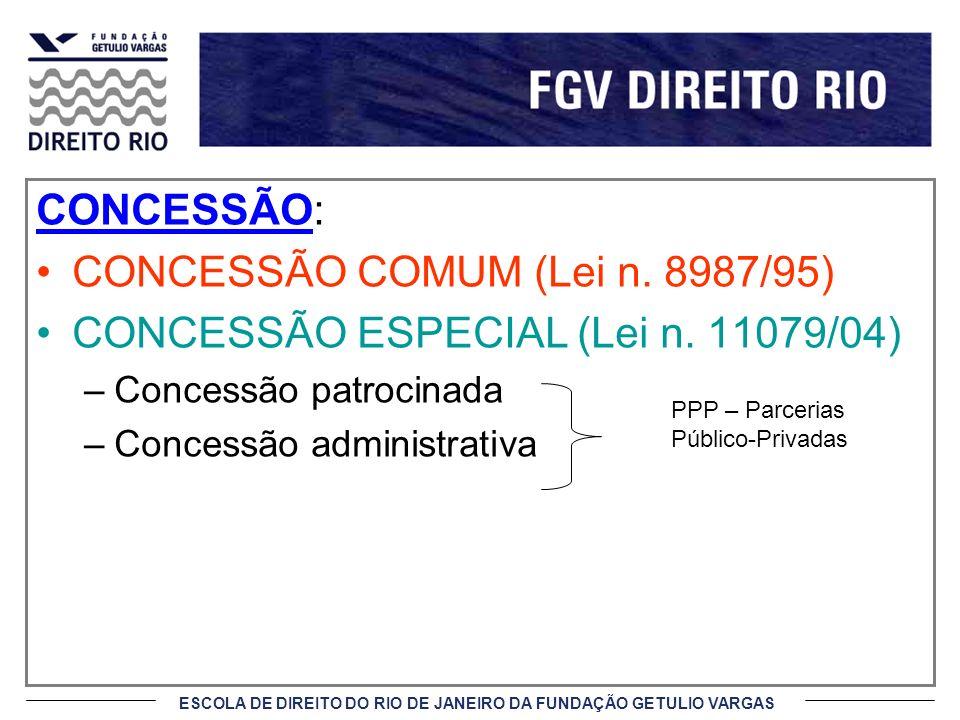 CONCESSÃO COMUM (Lei n. 8987/95) CONCESSÃO ESPECIAL (Lei n. 11079/04)
