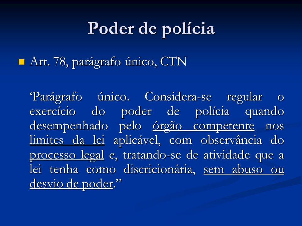 Poder de polícia Art. 78, parágrafo único, CTN