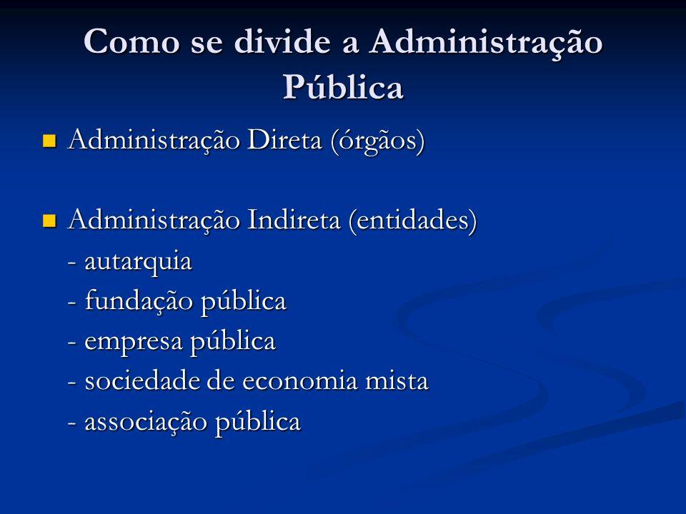 Como se divide a Administração Pública