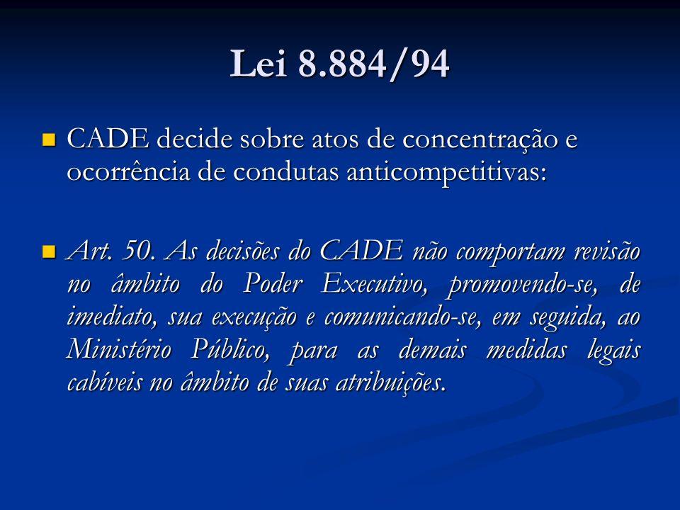 Lei 8.884/94 CADE decide sobre atos de concentração e ocorrência de condutas anticompetitivas: