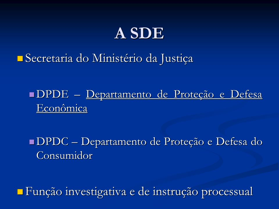 A SDE Secretaria do Ministério da Justiça