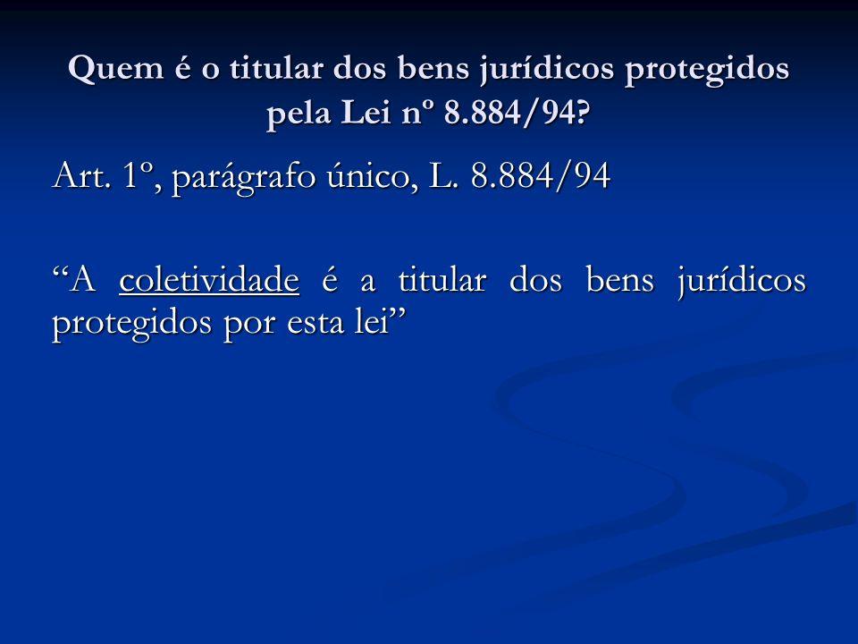 Quem é o titular dos bens jurídicos protegidos pela Lei nº 8.884/94