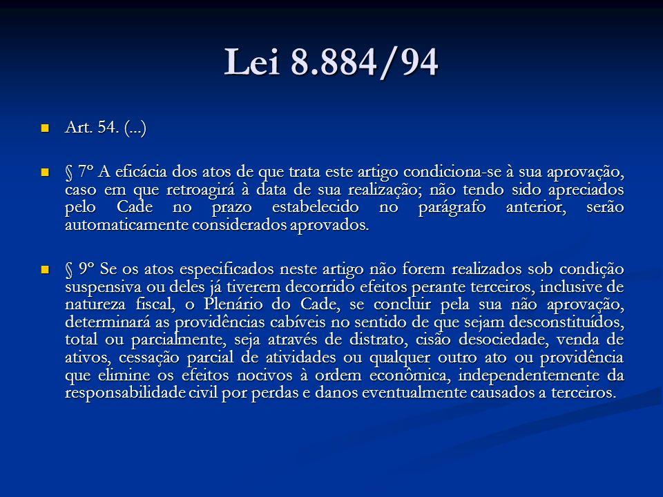 Lei 8.884/94Art. 54. (...)