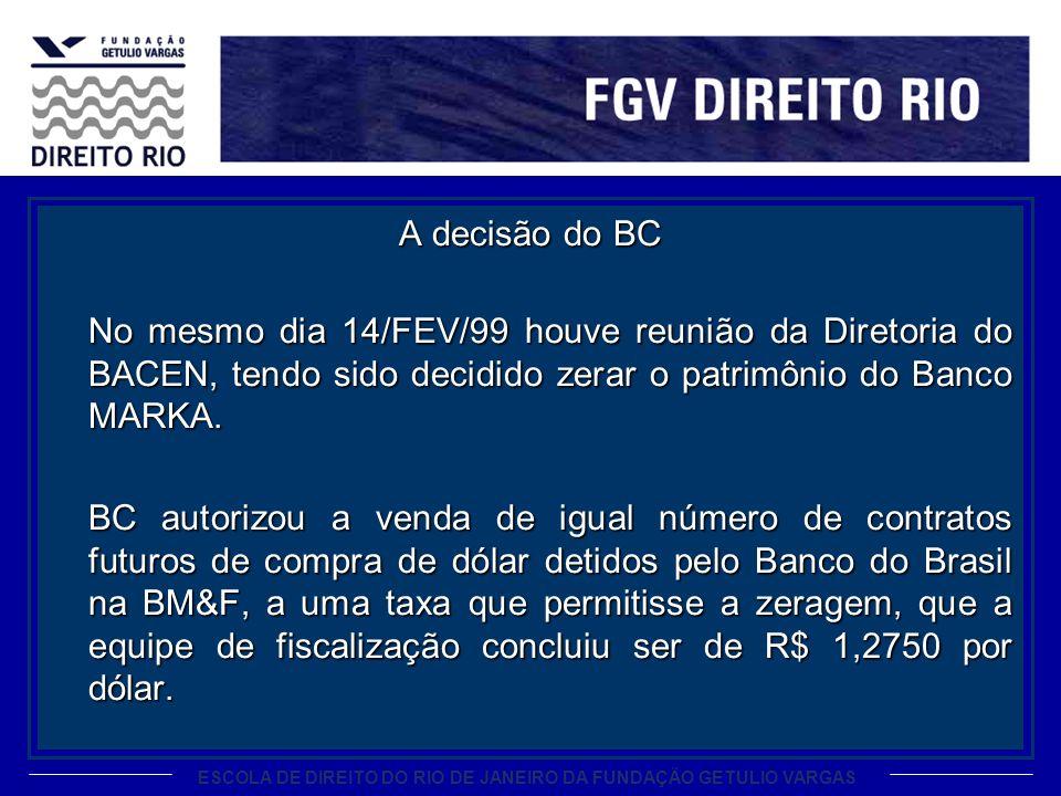 A decisão do BC No mesmo dia 14/FEV/99 houve reunião da Diretoria do BACEN, tendo sido decidido zerar o patrimônio do Banco MARKA.