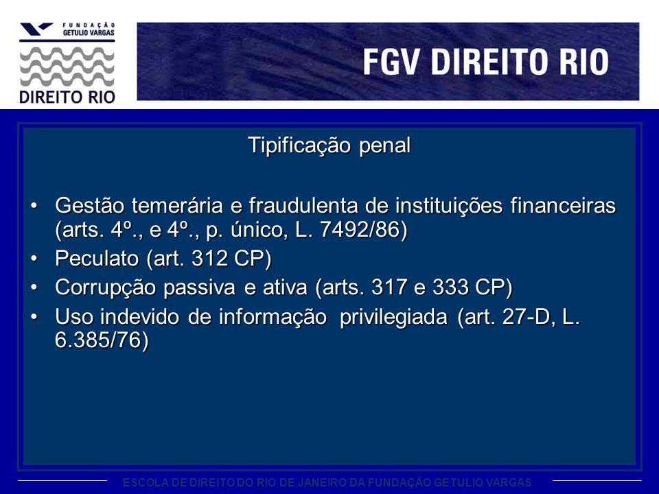 Tipificação penalGestão temerária e fraudulenta de instituições financeiras (arts. 4º., e 4º., p. único, L. 7492/86)