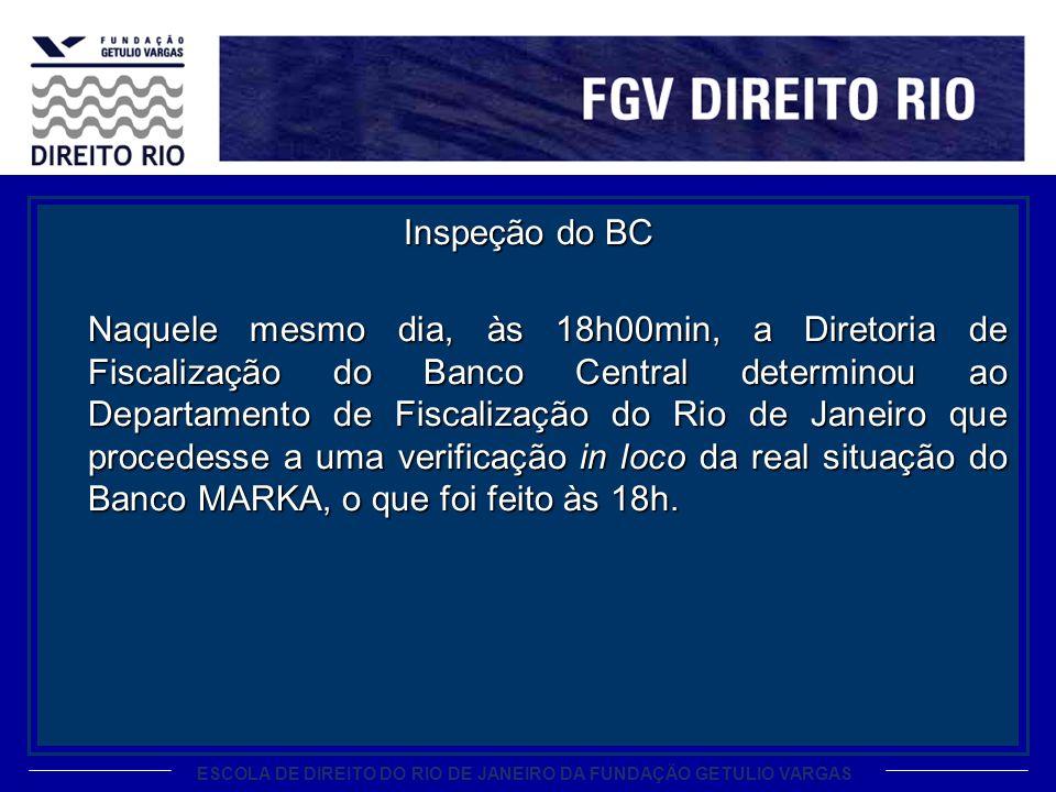 Inspeção do BC Naquele mesmo dia, às 18h00min, a Diretoria de Fiscalização do Banco Central determinou ao Departamento de Fiscalização do Rio de Janeiro que procedesse a uma verificação in loco da real situação do Banco MARKA, o que foi feito às 18h.