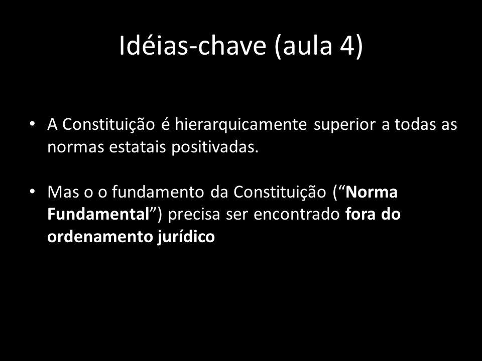 Idéias-chave (aula 4)A Constituição é hierarquicamente superior a todas as normas estatais positivadas.
