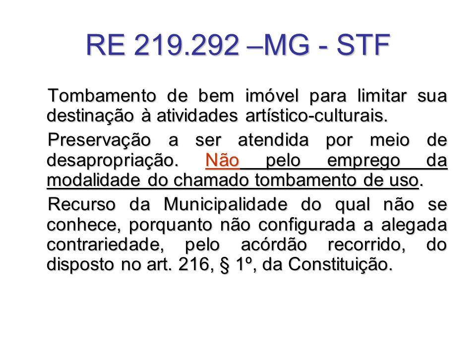 RE 219.292 –MG - STF Tombamento de bem imóvel para limitar sua destinação à atividades artístico-culturais.