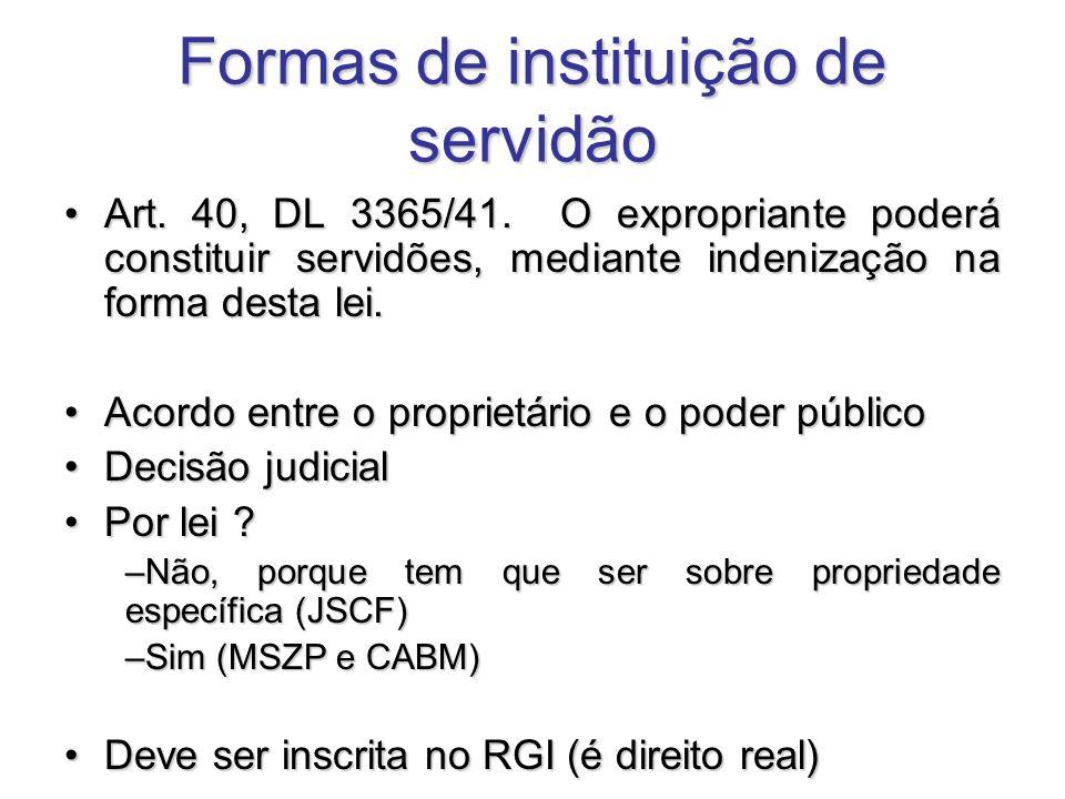 Formas de instituição de servidão