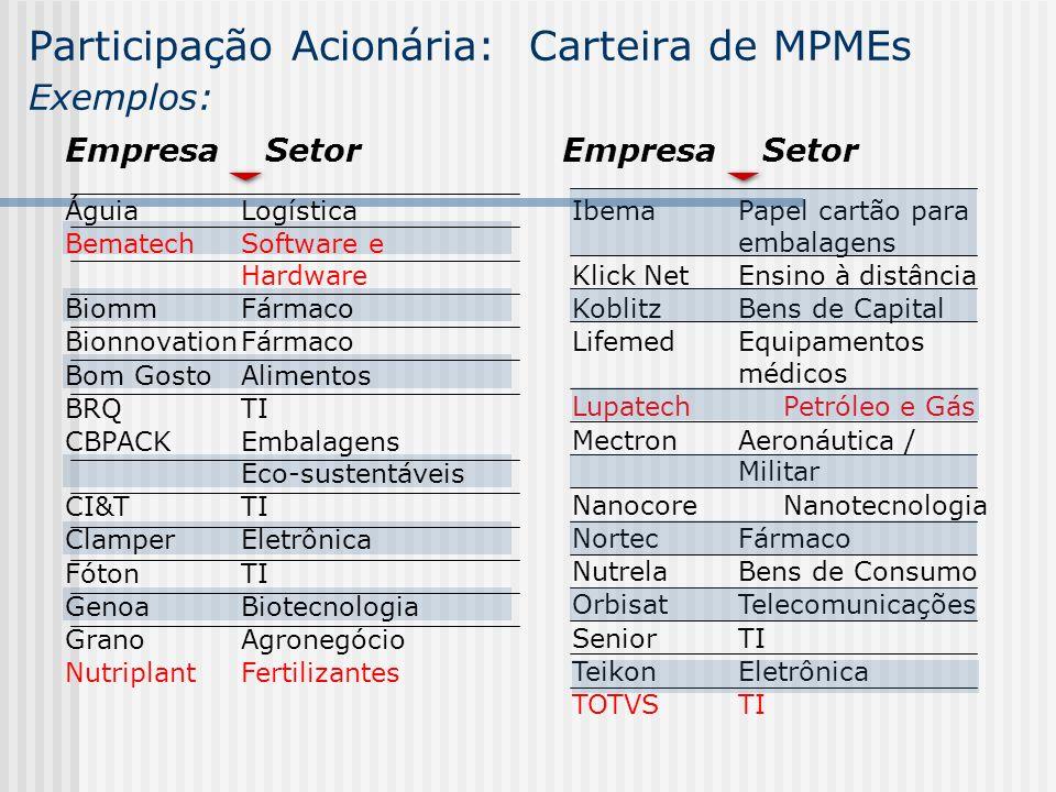 Participação Acionária: Carteira de MPMEs Exemplos: