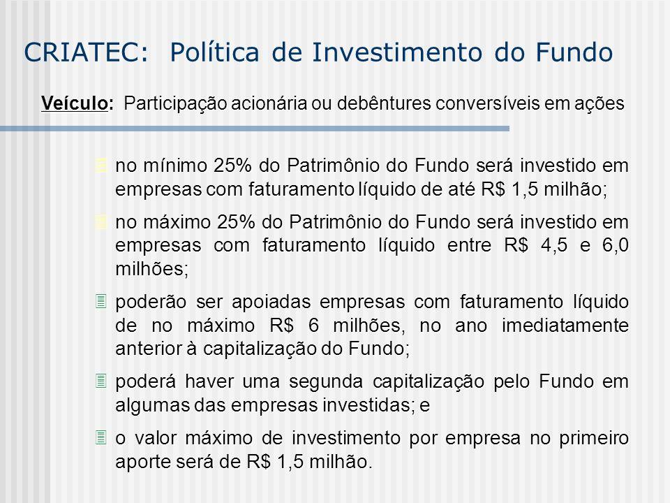 CRIATEC: Política de Investimento do Fundo