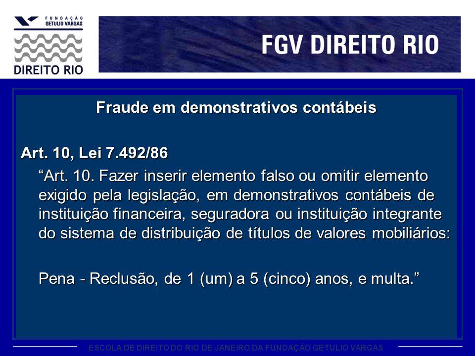 Fraude em demonstrativos contábeis Art. 10, Lei 7. 492/86 Art. 10