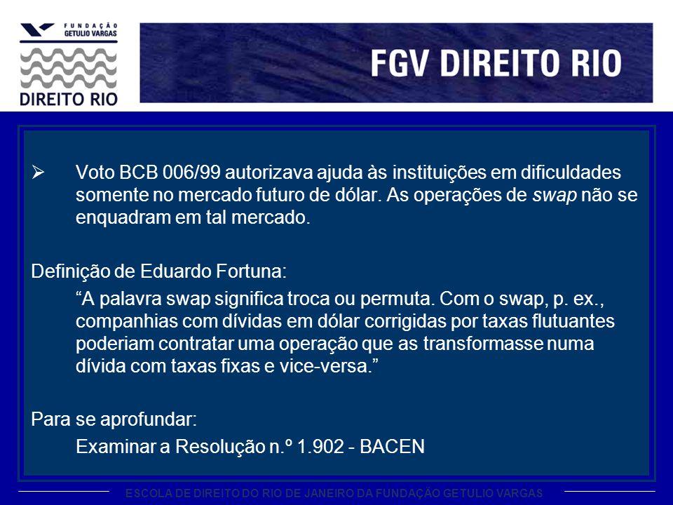 Voto BCB 006/99 autorizava ajuda às instituições em dificuldades somente no mercado futuro de dólar. As operações de swap não se enquadram em tal mercado.