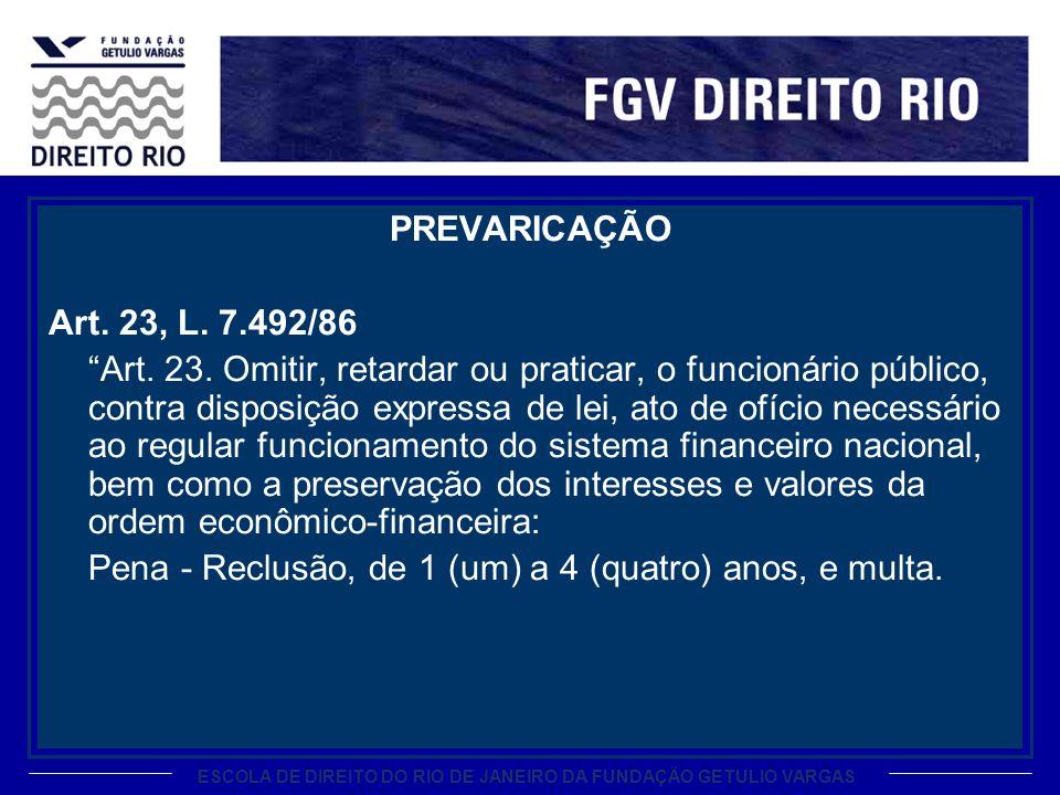 PREVARICAÇÃO Art. 23, L. 7.492/86.