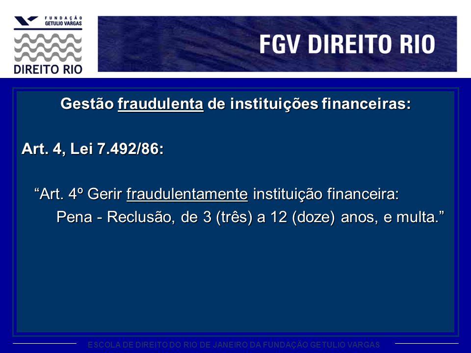 Gestão fraudulenta de instituições financeiras: Art. 4, Lei 7