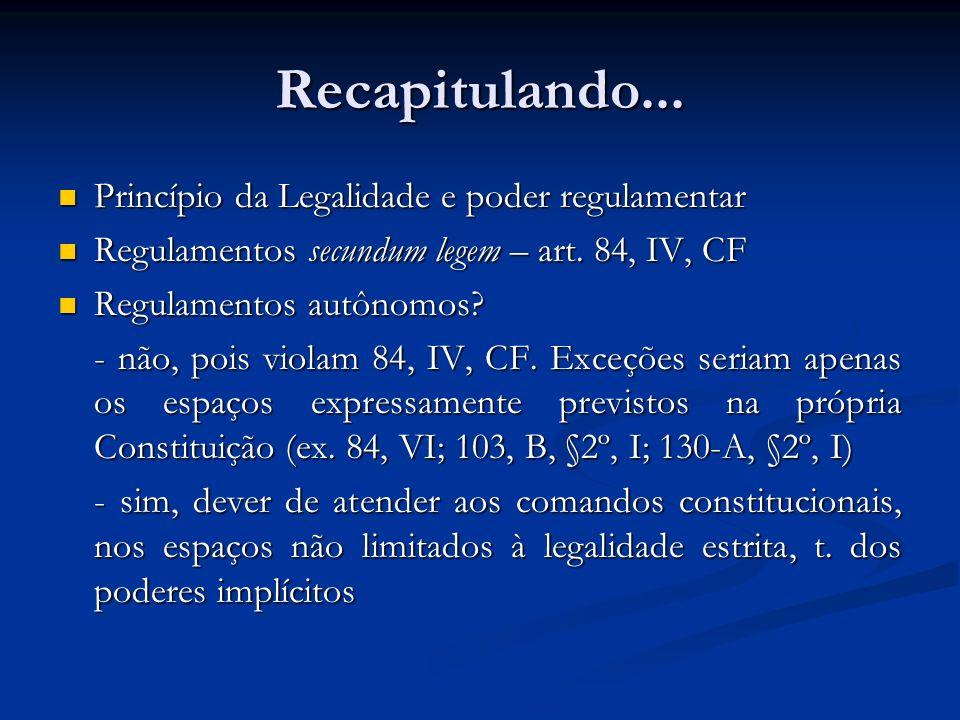 Recapitulando... Princípio da Legalidade e poder regulamentar