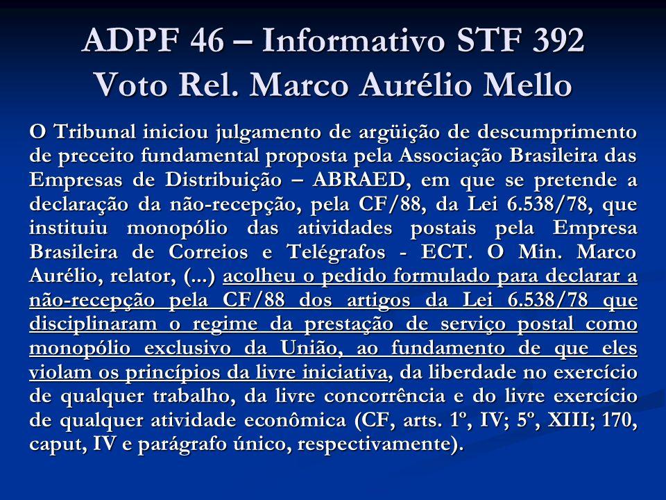 ADPF 46 – Informativo STF 392 Voto Rel. Marco Aurélio Mello