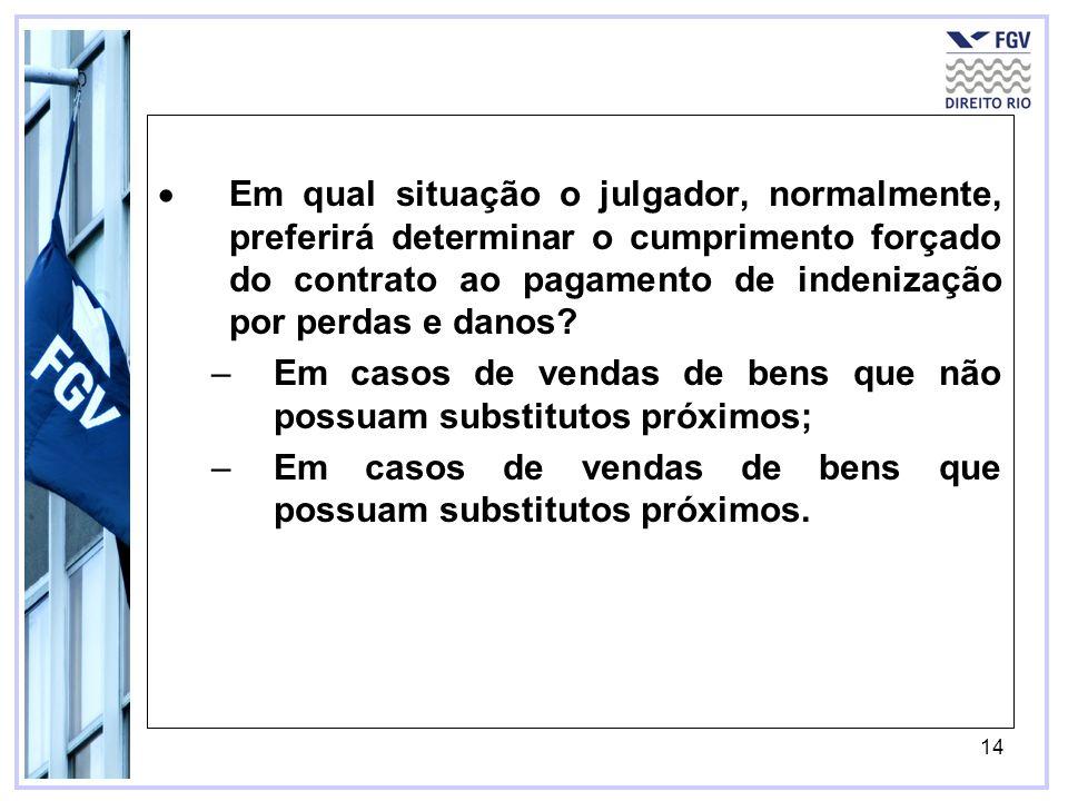 Em qual situação o julgador, normalmente, preferirá determinar o cumprimento forçado do contrato ao pagamento de indenização por perdas e danos