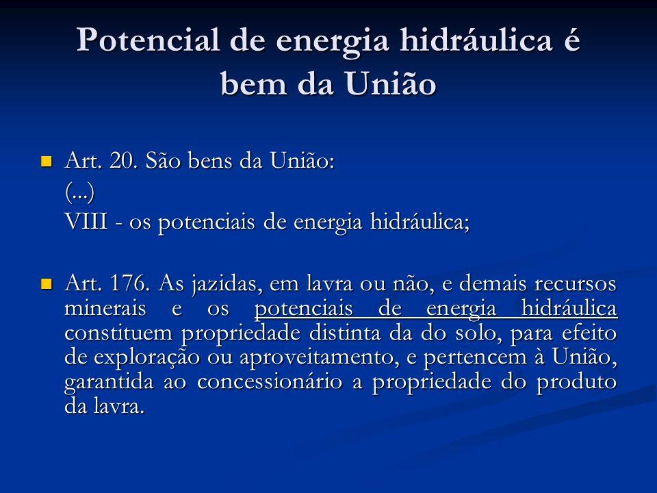 Potencial de energia hidráulica é bem da União