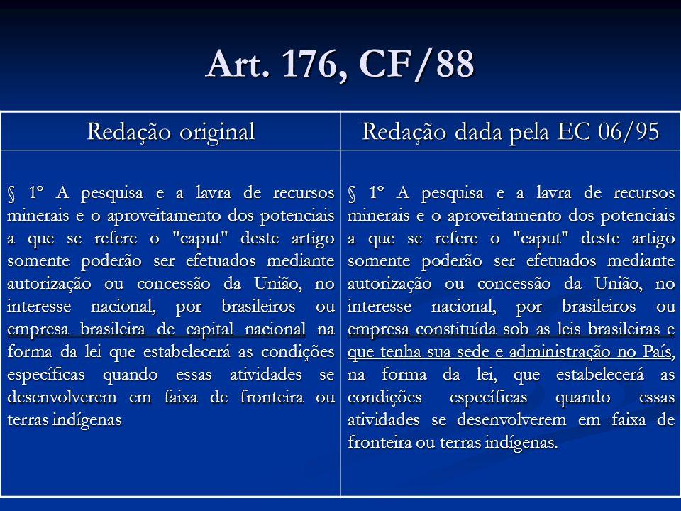 Art. 176, CF/88 Redação original Redação dada pela EC 06/95